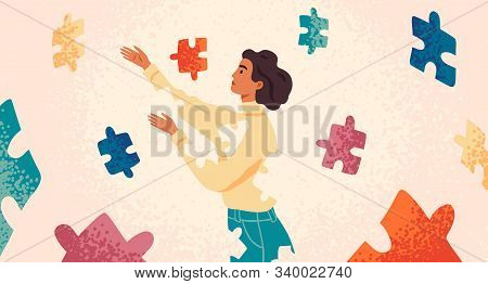 Self Healing, Recovery Flat Vector Illustration. Woman Assembling Herself Cartoon Character. Girl Fe