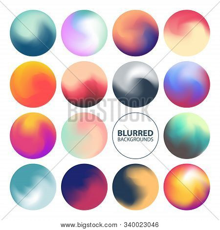 Blurred Circle Backgrounds Set With Modern Abstract Color Gradient Patterns. Colourful Gradient Orbs