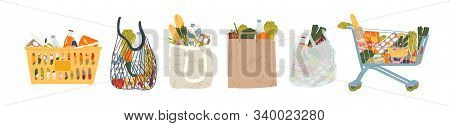 Shopping Bags And Baskets Flat Vector Illustrations Set. Grocery Purchases, Paper And Plastic Packag
