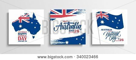 Australia Day, January 26 Greeting Cards Set With Hand Lettering, Brush Strokes, Waving Australian N