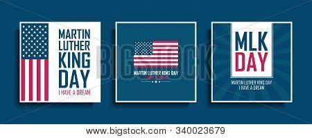 Martin Luther King Day Celebrate Cards Set With United States National Flag. Mlk Day Collection. Usa