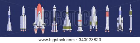 Rockets And Spaceships Flat Vector Illustrations Set. Space Shuttles For Universe Exploration And In