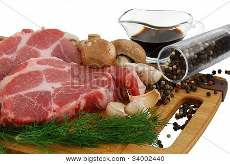 Beefsteak  Prepared For Cooking With Mushrooms Spices