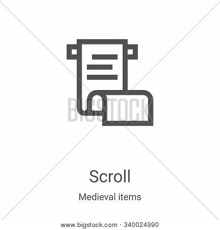 scroll icon isolated on white background from medieval items collection. scroll icon trendy and mode