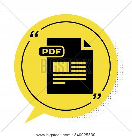 Black Pdf File Document. Download Pdf Button Icon Isolated On White Background. Pdf File Symbol. Yel