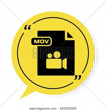 Black Mov File Document. Download Mov Button Icon Isolated On White Background. Mov File Symbol. Aud