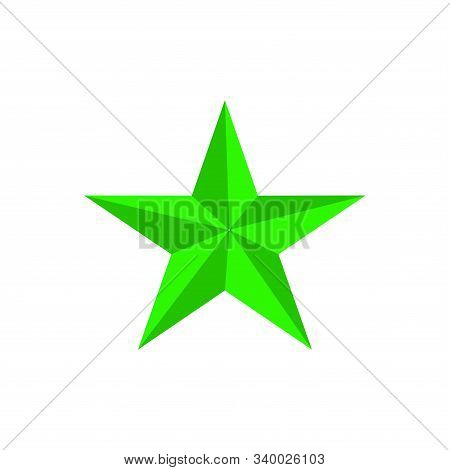 Green Star Shape Isolated On Black Background. Green Star Icon. Green Star Logo, Image Of Star Symbo
