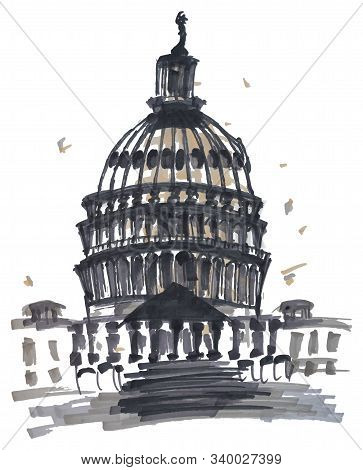 Unated States Capitol Building, Washington Dc. Sloppy Rough Markers Sketch With Caricature Style .