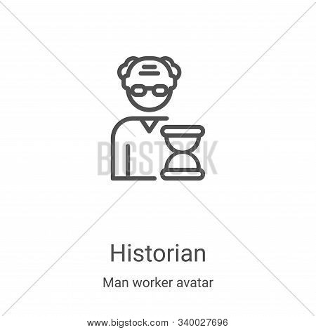 historian icon isolated on white background from man worker avatar collection. historian icon trendy
