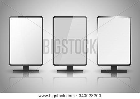 Light Boxes. Retail Lighting 3d Billboards, Retro Cinema Signs. Illuminated Lightbox With Empty Spac