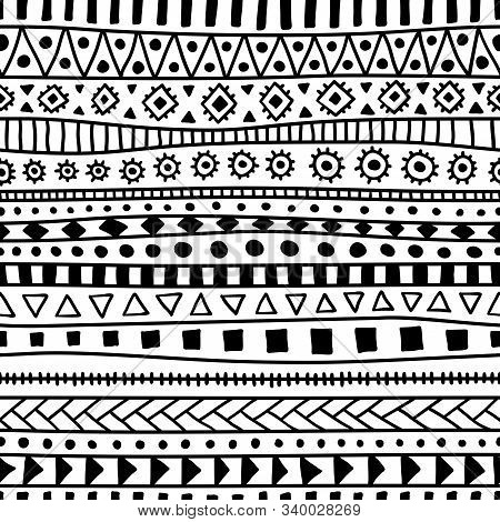 Seamless Black And White Tribal Pattern. Ethnic And Aztec Motifs. Print For Textiles, Packaging. Han
