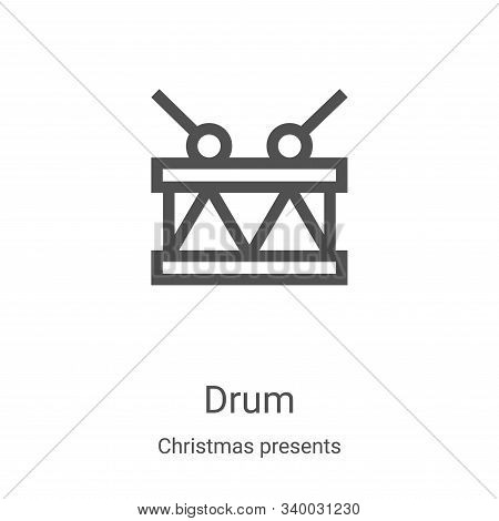 drum icon isolated on white background from christmas presents collection. drum icon trendy and mode