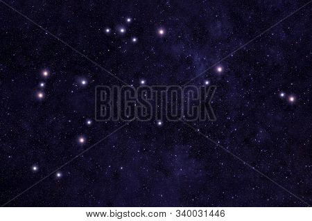 Constellation Aquarius. Against The Background Of The Night Sky. Elements Of This Image Were Furnish