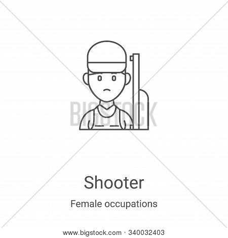 shooter icon isolated on white background from female occupations collection. shooter icon trendy an