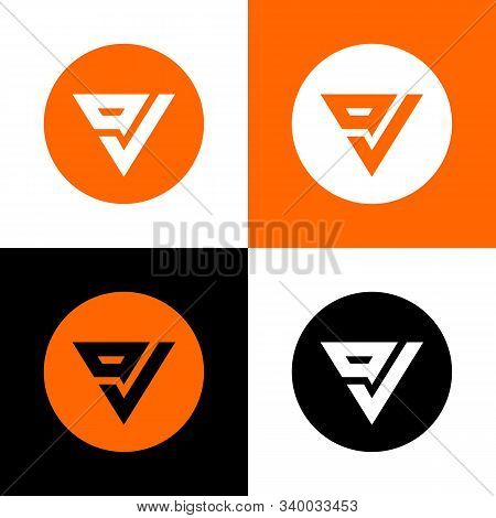 Ov Letter Logo  Icon Design, Triangle Shape Typography On Circle Background - Vector
