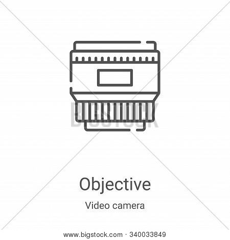 objective icon isolated on white background from video camera collection. objective icon trendy and