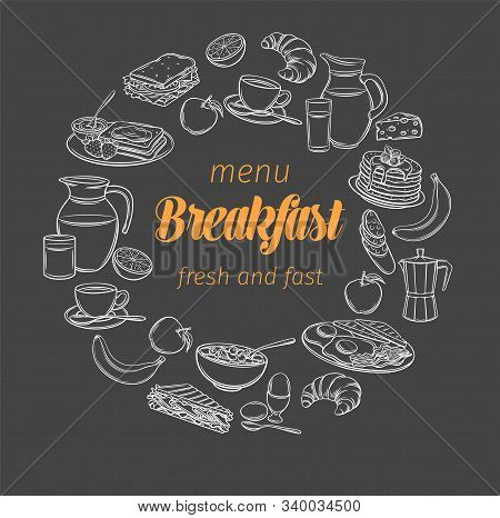 Breakfast And Brunch Banner, Blackboard Style. Sketch Brunch Menu Design Butter, Sour Cream And Whip
