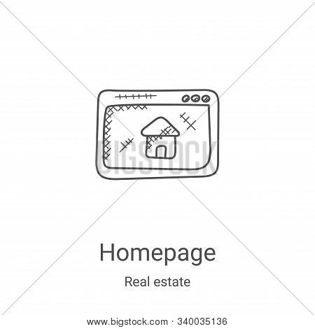 homepage icon isolated on white background from real estate collection. homepage icon trendy and mod