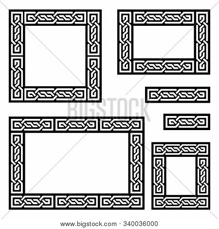 Celtic Vector Frame Or Border Pattern Collection Square And Ractangle Shapes - Irish Knots, Braided