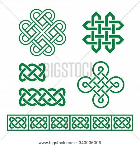 Celtic Irish Vector Pattern And Braid Set Inspired By Traditional Celts Art From Ireland, Scotland A