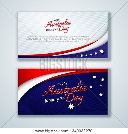 Happy Australia Day Card Brochure Flyer Australia National Flag Theme Red White Curved Lines And Sta
