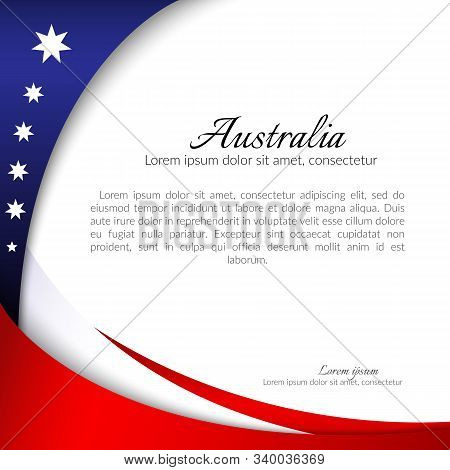 Australia National Flag Theme Red White Curved Lines And Stars On A Blue Background Patriotic Poster