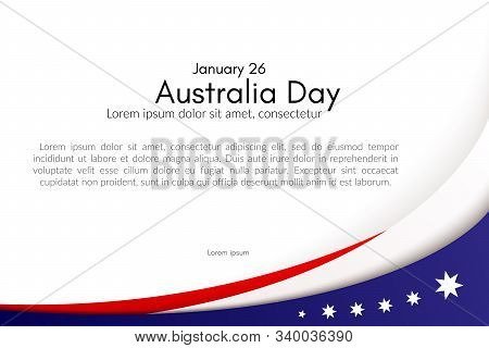 Happy Australia Day Card Brochure Poster Australia National Flag Theme Red White Curved Lines And St