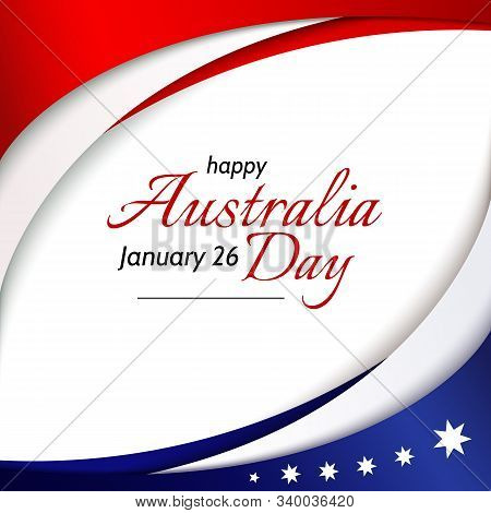 Happy Australia Day Banner Poster Card Australia National Flag Theme Red White Curved Lines And Star
