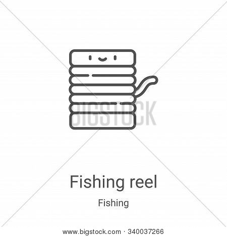 fishing reel icon isolated on white background from fishing collection. fishing reel icon trendy and