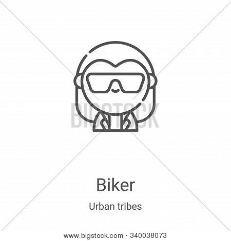 biker icon isolated on white background from urban tribes collection. biker icon trendy and modern b
