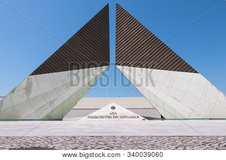 Architectural Detail Of The Monument To The Glory Of Overseas Fighters In Lisbon, Portugal
