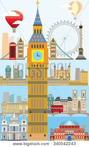 Colorful Vector Illustration Of London Landmarks. Poster With London City Skyline Vector Isolated Il