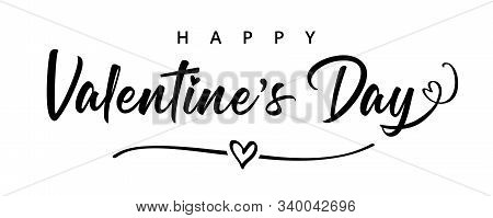 Lettering Happy Valentines Day Banner. Valentines Day Greeting Card Template With Black Typography T