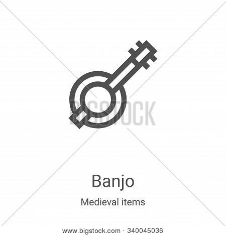 banjo icon isolated on white background from medieval items collection. banjo icon trendy and modern