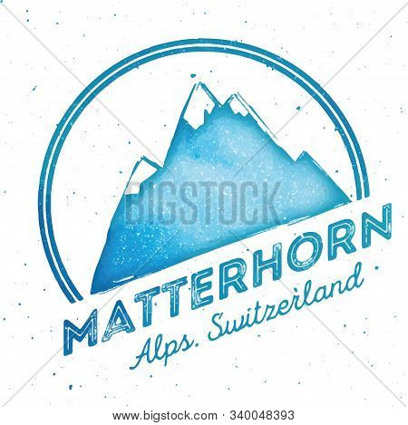 Mountain Mattehorn Outdoor Adventure Insignia. Climbing, Trekking, Hiking, Mountaineering And Other
