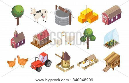 Countryside Icons Set With Houses And Nature Isometric Isolated Vector Illustration