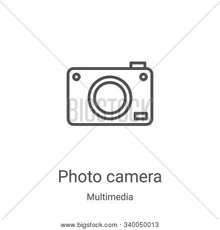 photo camera icon isolated on white background from multimedia collection. photo camera icon trendy