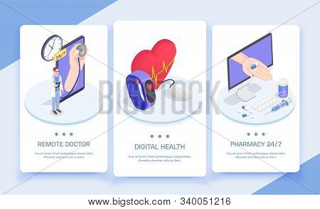 Telemedicine Digital Health Isometric Vertical Banners Set With Conceptual Images Of People Electron