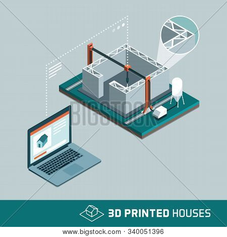 3d Printing House Technology With 3d Printer And Connected Computer Transmitting Data And Process In