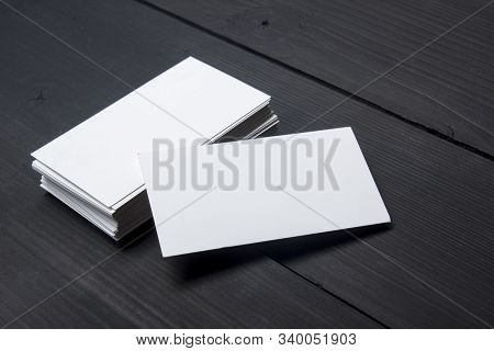 Business Cards Blank. Mockup On Color Background. Flat Lay. Copy Space For Text
