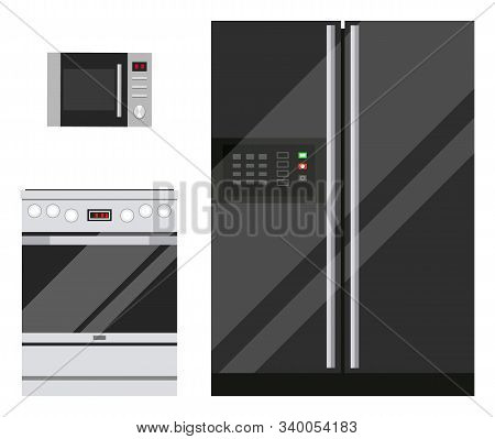 Kitchen Set Of Technical Devices. Microwave, Fridge And Stove Isolated On White Background. Kitchenw