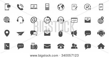 Contact Us Silhouette Vector Icons Large Set Isolated On White Background. Business Communication Co