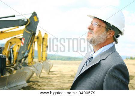 Senior Man With Bulldozer