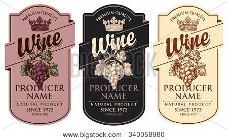 Set Of Three Vector Wine Labels With Hand-drawn Bunches Of Grapes, Crowns And Calligraphic Inscripti