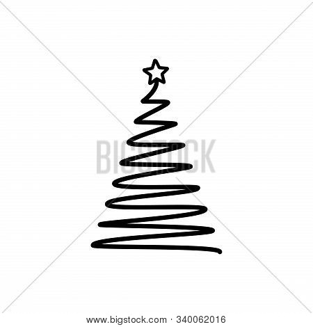 Christmas Tree. Line Draw Scribbled Stylized Element. Decoration Elements Collection, Holiday Monoch