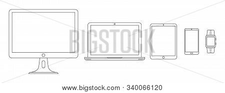 Device Icons. Set Of Linear Device Icons. Vector Illustration In Thin Line Style. Set Of Outline Dev