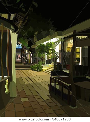 Street Courtyard With Beautiful Cartoony Constructions In Night Illumination