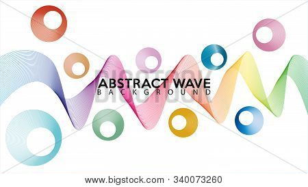 Abstract Rainbow Wave Line Background Design Vector, Decorative Blend Effect, White Background, Colo