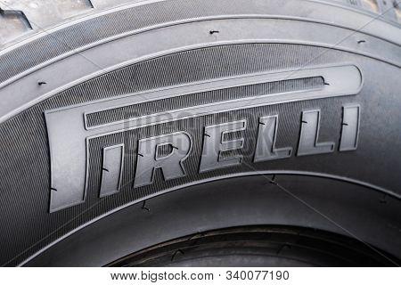 Krasnoyarsk 15 December 2019: Pirelli - Logo Close-up On The Sidewall Of The Tire