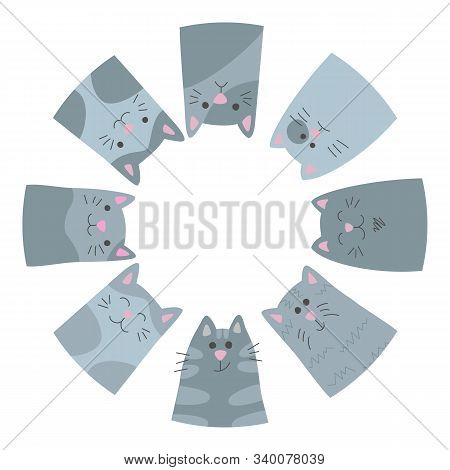 Happy Cats. Circle. Card In Cartoon Style. Vector Illustration